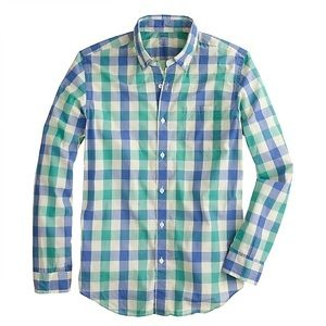 J. Crew Blue Green Check Gingham Button Down XS